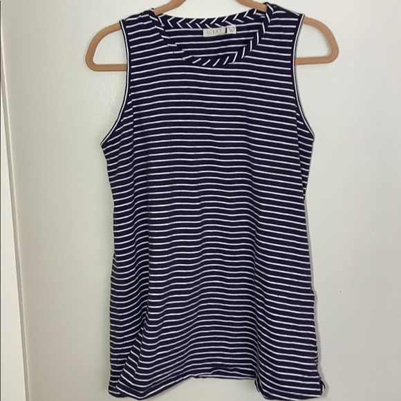 LOGO White Blue Striped Sleeveless Shirt / Tunic
